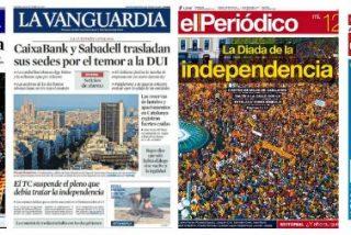 La prensa catalana se acojona con la fuga del Sabadell y Caixabank y pide elecciones
