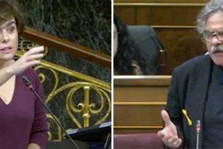 Revolcón de democracia de Soraya a Tardá que 'escapa' del Congreso con su rancio golpismo entre las piernas