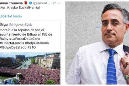 """Un eurodiputado de Convergencia intenta colar como manifestación de """"repulsa por el 155"""" ... ¡una foto de la Supercopa!"""