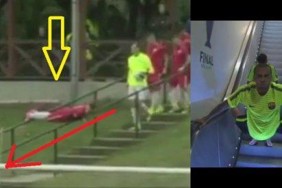 [VIDEO] Jugador superó a Dani Alves con este estrafalario método para bajar escaleras