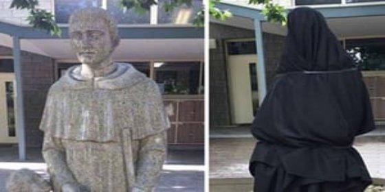 Obligan a cubrir esta estatua de un colegio católico por su connotación sexual
