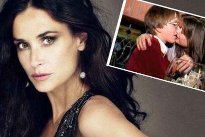 Pillan a Demi Moore besando borracha y apasionada a un niño de 15 años y estalla el escándalo