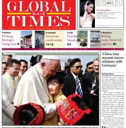 """La prensa china aclama a Francisco como el """"Papa de la paz"""""""