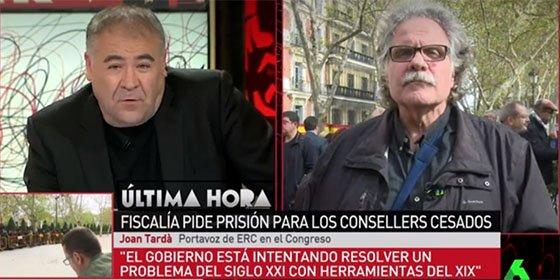 Ferreras deja titubeando a Tardá con dos preguntas que desmontan su farsante victimismo independentista