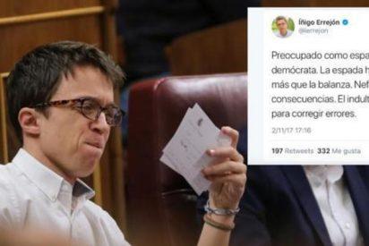 Errejón borra a toda prisa un 'tuit' en el que pedía el indulto para Junqueras