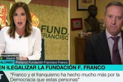 Mamen Mendizábal, boquiabierta ante el discurso a favor de Franco de su invitado