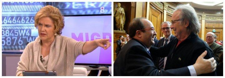Pilar Rahola entra en modo 'esquizofrenia total' al ver el abrazo entre Serrat e Iceta mientras entalegaban a Forcadell