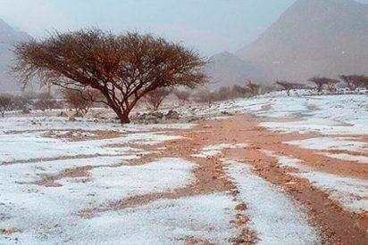 [VIDEO] Una inusual granizada convierte al desierto de Emiratos Árabes Unidos en un campo blanco