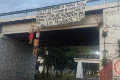 Aparecen tres hombres semidesnudos colgados de un puente en México