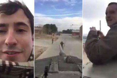 [VIDEO] Dos civiles se suben a un tanque y amenazan a Puigdemont y Pablo Iglesias