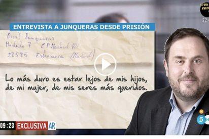 La inquietante entrevista a Junqueras desde la cárcel para el Programa de Ana Rosa