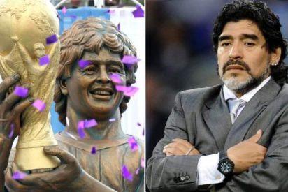 Cachondeo en las redes por esta inquietante estatua de Maradona