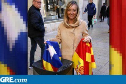 La candidata del PP en Lérida tira una estelada a la basura y saca a los 'indepes' de sus casillas