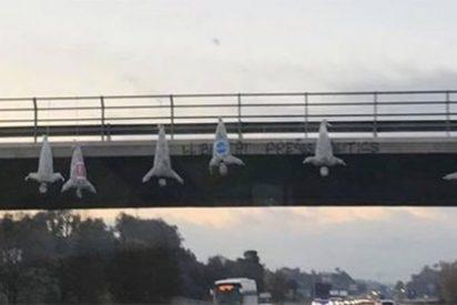 Los catabatasunos copian a los narcos mexicanos con 'ahorcados' del PP, PSOE y C'S colgando de un puente