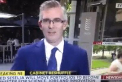 [VIDEO] Esta mujer se 'teletransporta' en plena transmisión en vivo de un canal australiano