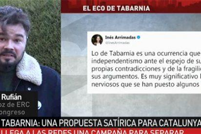 """Rufián empieza disimulando pero acaba chinchadísimo por 'Tabarnia': """"¡Quienes están detras son los de C's y la FAES!"""""""