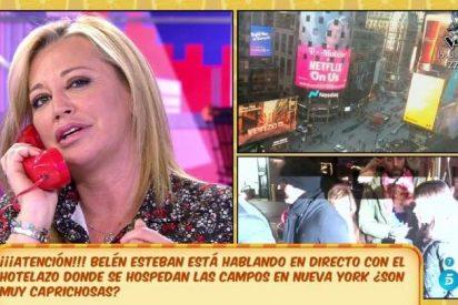 'Sálvame': Belén Esteban llama en directo a la recepcionista del hotel de 'Las Campos'