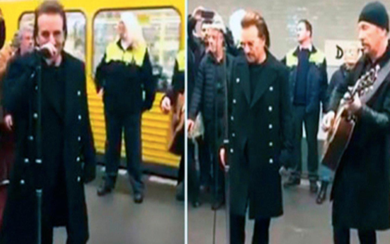 U2 ofrece un concierto sorpresa en el metro de Berlín