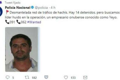 La Policía Nacional pide ayuda en Twitter para encontrar a este capo narcotraficante