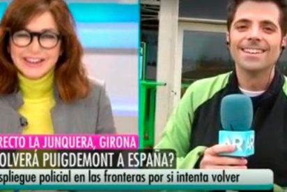 Ana Rosa se la parte caja en directo al imaginarse a Puigdemont saltando en paracaídas