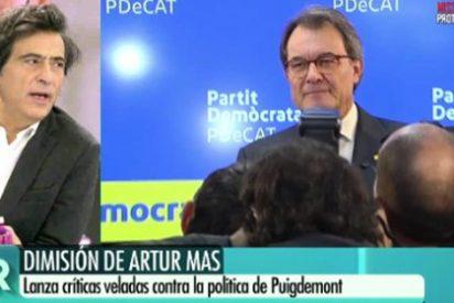 """Arcadi Espada coge por la pechera al achantado Mas: """"¡Se va después de destruir Cataluña, es un cobarde!"""""""