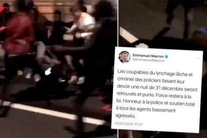 La paliza de unos musulmanes a una policía en Nochevieja que pone a Macron de mala uva