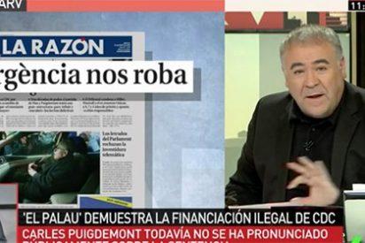 """Demoledor alegato de Ferreras contra Puigdemont por su silencio con """"el atraco a mano armada"""" de Convergència que deja al prófugo tiritando"""