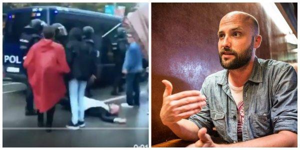 ¡Qué panda de farsantes!: mira a este tertuliano de TV3 simulando ser golpeado por los policías el 1-O