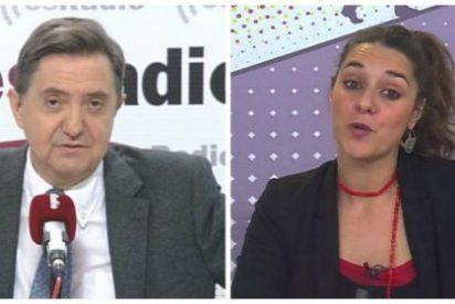"""Losantos aniquila a la podemita Noelia Vera por criticar la ausencia de Sánchez: """"Zoquetina, si el que no aparece es tu jefe"""""""
