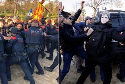 Cientos de manifestantes se aprovechan de la dejadez de los Mossos para romper su cordón, rodear el Parlament y exigir que 'Puchi' sea investido
