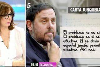 El preso Junqueras confiesa a Ana Rosa que es momento de 'pasar' de Puigdemont y postula a Marta Rovira