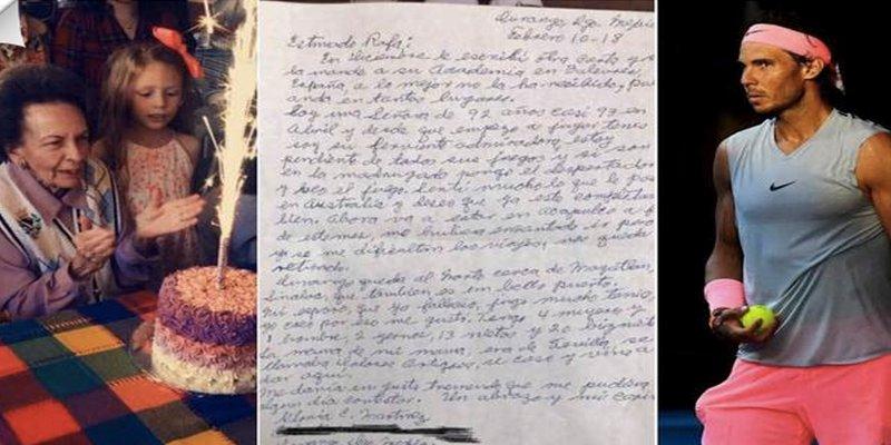 Así es la emotiva carta de una bisabuela de 92 años que emociona a Nadal