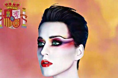 Los separatistas rabian contra la norteamericana Katy Perry por envolverse en la bandera de España