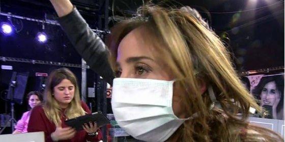 Jorge Javier Vázquez humilla a María Patiño y le obliga a llevar una mascarilla en directo