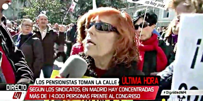La 'espontánea' pensionista podemita que deja a CuatroTV con el culo al aire