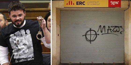 """Rufián lloriquea en Twitter por el ataque a una sede de ERC y le dan cera: """"Muy bien, Rufi, justifica tu sueldo"""""""