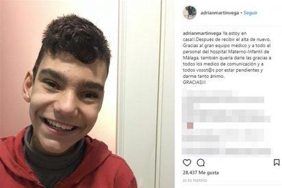 Adrián Martín, muy sonriente y feliz, reaparece en televisión tras varias operaciones