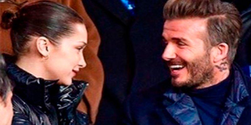 Beckham se mostró mucho más que encantado con Bella Hadid en el partido PSG-Real Madrid