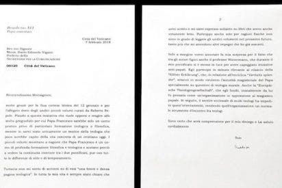 El Vaticano admite que no publicó íntegra la carta de Benedicto XVI