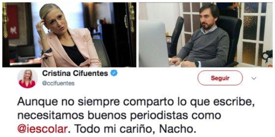 """Así se derretía Cristina Cifuentes con su admirado 'apuñalador' mediático: """"Todo mi cariño, Nacho"""""""