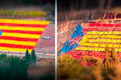 Unos valientes transforman la estelada gigante de una carretera en una bandera de España