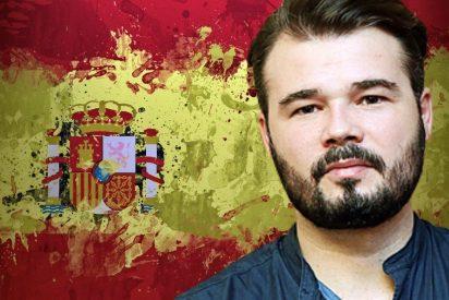 El mal trago de Rufián por querer dar barra libre a los 'indepes' con la bandera de España