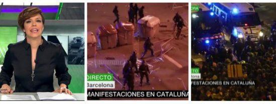"laSexta oculta la batalla campal de los separatistas para no perjudicar a Puchi: ""Protesta pacífica, reina la calma"""