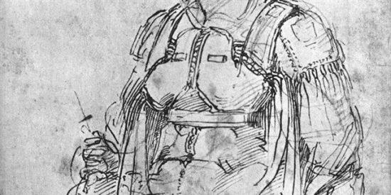 El genial Miguel Angel firmó un boceto con esta caricatura de si mismo