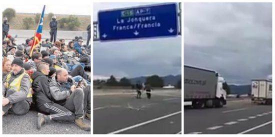El acojonante vídeo de unos camioneros rumanos que ridiculizan en un santiamén a los pasivos mossos
