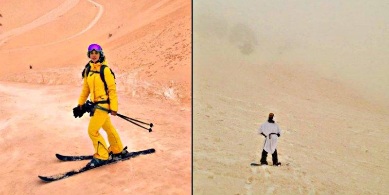 La arena y polvo del norte de Africa tiñen de naranja la nieve en el este de Europa