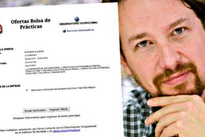 Los caraduras de Podemos piden 'dignificar' a los becarios pero ofrecen prácticas a '0 euros'