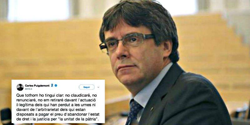 Puigdemont ya está en chandal y manda un desesperado mensaje desde la cárcel alemana
