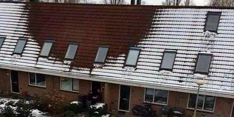 La ausencia de nieve en este tejado se explica en base a un delito
