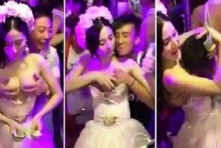 Boda China: La novia se deja sobar las tetas por los invitados y recolecta dinero